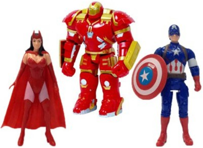 Montez The Avengers 3 in 1 Super Power Action Heros (Scarlet Witch,Hulkbuster Armor & Captain America)