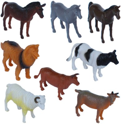 Tootpado Pet and Farming Animals Plastic Toy Set - Pack Of 8 - 1c188 - Educational & Decorative For Kids