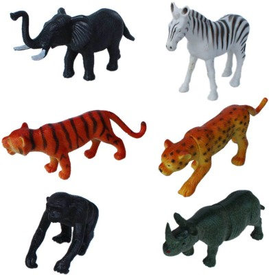 Tootpado Wild Zoo Forest Animals Plastic Set Pack Of 6 Toy 1c180 For Kids