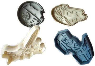 Williams-Sonoma Star Wars Press-and-Stamp Cookie Cutters Set of 4: Death Star, Millennium Falcon, Vader,s Tie Fighter, X-Wing Fighter