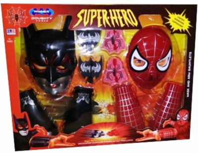 Turban Toys Super Hero Batman & Spiderman Mask and Arm Gauntlets
