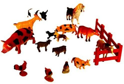 dazzling toys Farm Animals With Gate Pack Of 15 (D134)