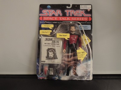 Playmates Commander William Riker Action Figure - Star Trek Space Talk Series - Hear Jonathan Frakes, Actual Voice Speaking