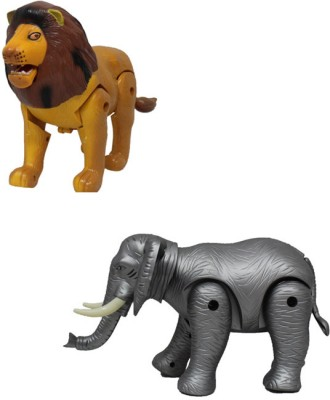 Smartkshop Lion and Elephant Battery Operated Toy Animal For Kids Gift Toy(Multicolor)