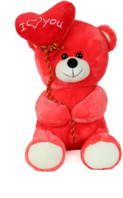 Giftwish Soft Stuff Cute Teddy Bear With I Love You Heart Ballon Red Soft Toy 27cm- H