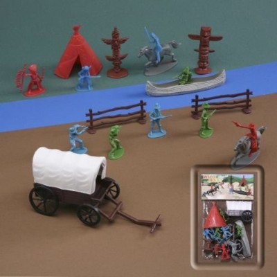 Esco Inports, Inc. Wild West 19 Piece Cowboy And Indian 1/35Th Play Set