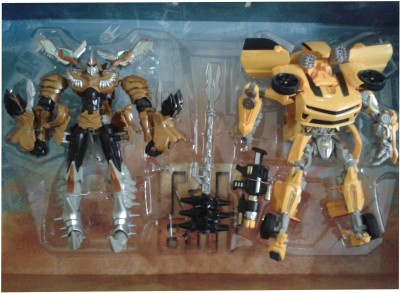 Vaibhav Combo Transformers SR 4 Grim Lock - Battler Bumblebee 2 iN 1 Robot Convert Into Car And Dinosaur ( Big Size )