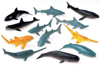 US Toy Lot of 12 Assorted Whale And Shark Toy Figure