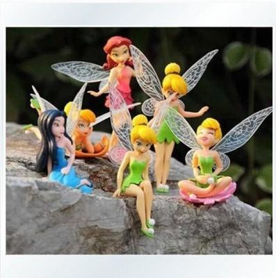 Dinglongshan Anime Cartoon Tinkerbell Fairy Pvcgirls Dolls Gift 6Pcs/Set