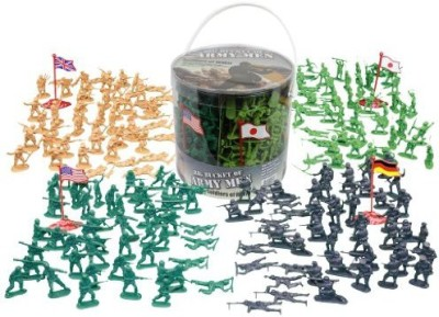 SCS Direct Army Men Action Figures -soldiers of WWII- Big Bucket of Army Soldiers - Over 200 Piece Set