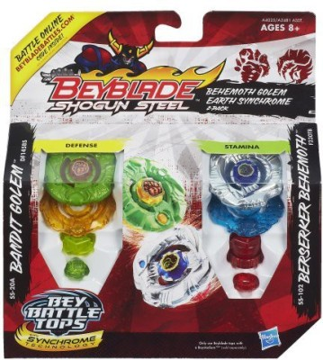 Beyblade Shogun Steel Behemoth Golem Earth Synchrome 2Pack
