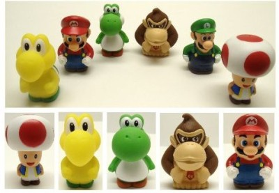 Super Mario Brothers 6 Piece Bath Play Set Featuring Marioluigikoopa