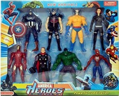 RREnterprizes 8 Pieces America Superheroes Action Figures