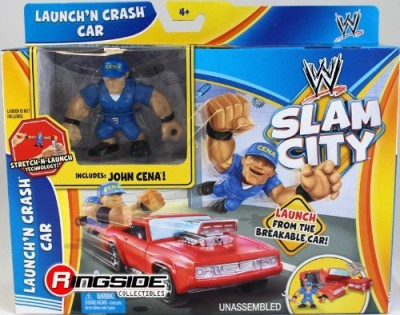 Wrestling John Cena W/ Launchin Crash Car Wwe Slam City Mattel