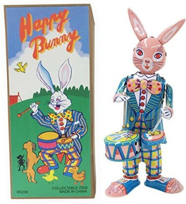 Off the Wall Toys Vintage Style Collectible Tin Easter Bunny With Drums