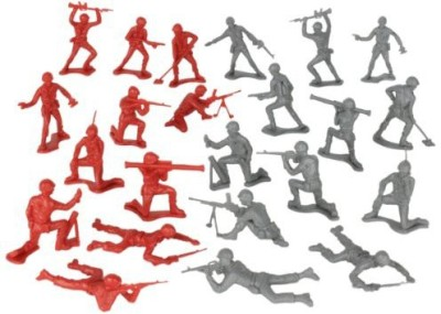 Tim Mee Timmee Plastic Army Men Gray Vs Red 100Pc Soldier Made