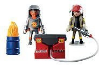 PLAYMOBIL 5943 Deluxe Firefighters Set With Flaming Barrel