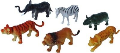 Tootpado Wild Zoo Forest Animals Plastic Toy Set - Pack Of 6 - 1c185 - Educational & Decorative For Kids