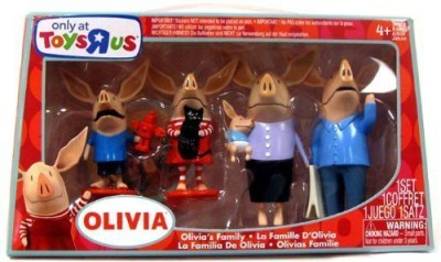 Olivia the Pig Action Figures - Mom, Dad, Olivia, Ian and William