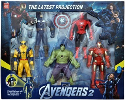 Turban Toys Super Hero 5 in 1 Avenger Action Figure With Projectoin