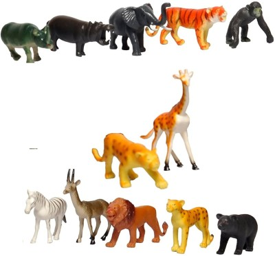 Wish Kart 12 Pcs Wild Animals Set (Medium Size) - Learning and Educational Toy + Made of Rubber + Non-Toxic(Multicolor)