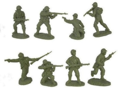 Toy Soldiers of San Diego WWII US Army Infantry GI's Plastic Green Army Men: 16 piece set of 54mm Figures - 1:32 scale