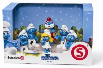 Schleich SMURFS 3D MOVIE 6 FIGURE SET Papa Smurf, Smurfette, Brainy, Grumpy, Clumsy, Gutsy