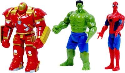 Emob The Avengers 3 in 1 Super Power Action Heros (Spider-Man,Hulkbuster Armor & Hulk)