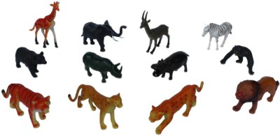 Tootpado Wild Zoo Forest Animals Plastic Toy Set - Pack Of 12 - 1c184 - Educational & Decorative For Kids
