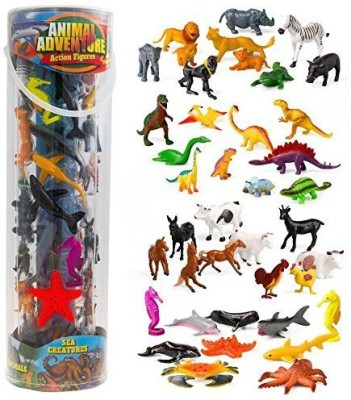 SCS Direct Giant Animal Action Figure Set - Big Bucket of Ocean, Dinosaur,