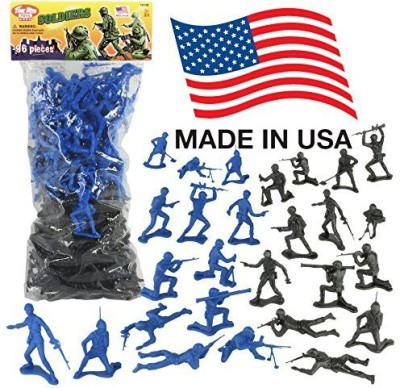 Tim Mee Timmee Plastic Army Men Black Vs Blue 96Pc Soldier Made