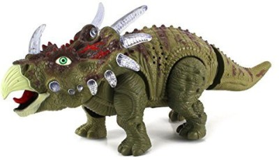 Velocity Toys Century Triceratops Battery Operated Toy Dinosaur Figure w/ Realistic Movement, Lights and Sounds(Multicolor)
