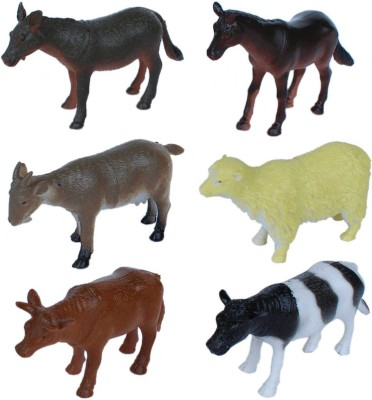 Tootpado Pet and Farming Animals Plastic Toy Set - Pack Of 6 - 1c189 - Educational & Decorative For Kids