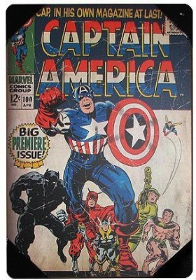 Marvel Silver Buffalo MC6236 Marvel Captain America Premiere Issue Comic Book Cover Wood Wall Art Plaque