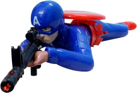 Wish Kart Crawling Captain America With Lights and Sound(Multicolor)