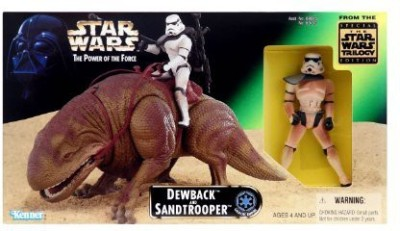 Masters of the Universe Star Wars 1997 The Power of the Force Action Figures Playset - Dewback and Exclusive Sandtrooper Figure with Battle Lance, Blaster Rifle and Backpack