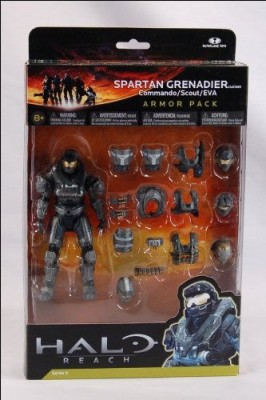 Halo Reach McFarlane Toys Deluxe Action Figure Boxed Set STEEL Spartan Grenadier Custom Armor Pack Commando, Scout, EVA