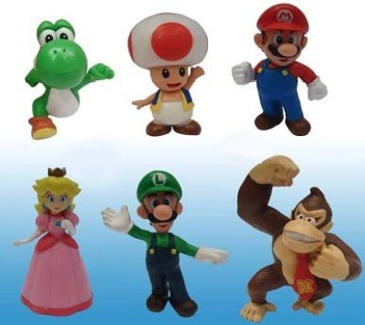Super Mario Brothers Popco Super Mario Set Of 6 Mini Mariopeachtoadluigiyoshi