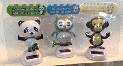 Greenbrier 3 Pack Of Solar Dancing Characters Owlpanda & Monkey