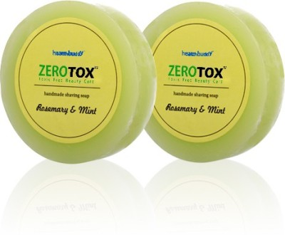 Healthbuddy Zerotox Handmade Rosemary And Mint Shaving Soap 2 Pcs Of 125 Gms Each