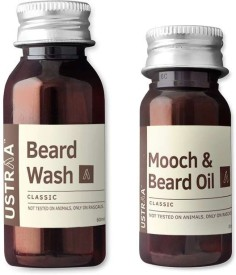 Ustraa by Happily Unmarried Beard Wash and Mooch Oil ( Set of 2)