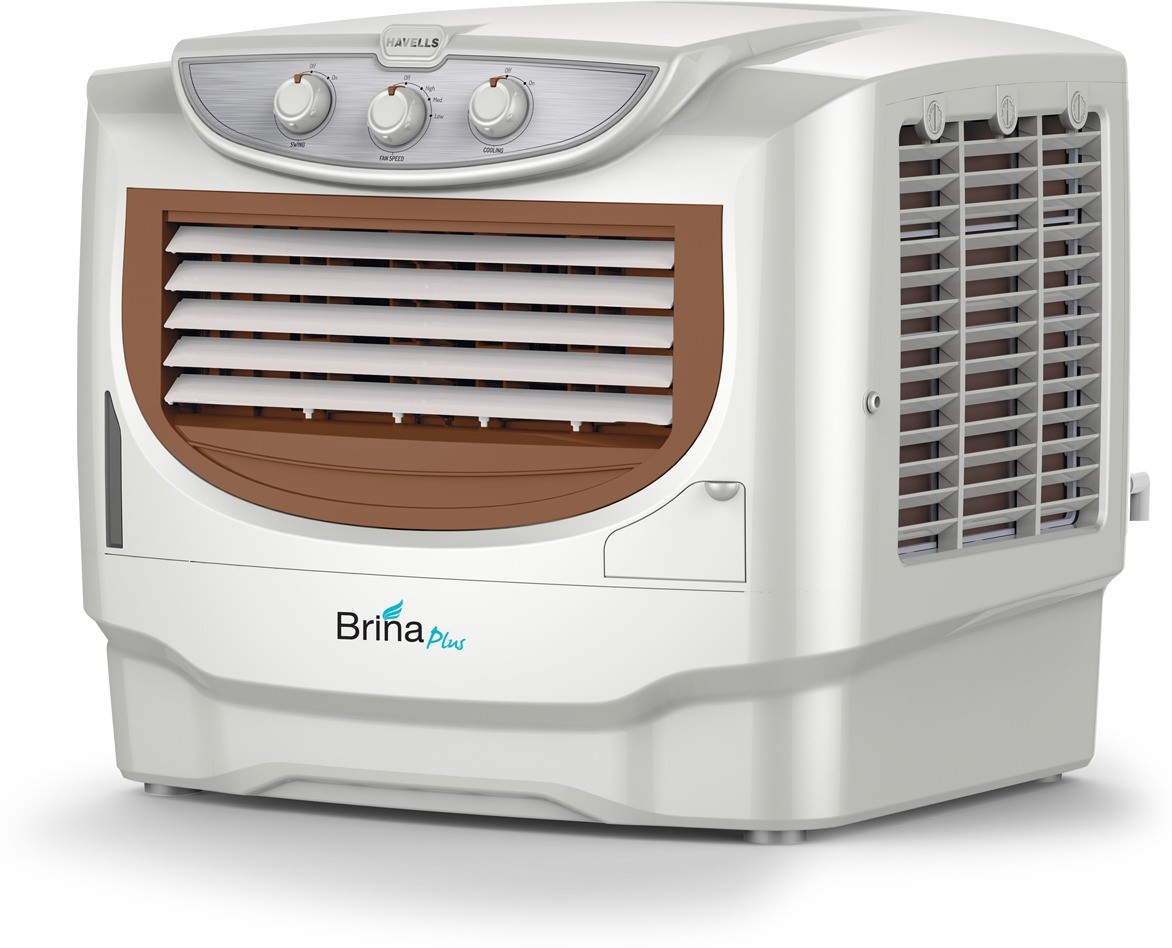 View Havells Brina Plus Window Air Cooler(Brown, White, 50 Litres) Price Online(Havells)