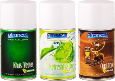 Airance Khus (Vetiver), Refreshing Lime, Oud Wood Home Liquid Air Freshener(250 ml)