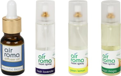 AirRoma Atlantic Breeze, Fresh Lavender, Green Lemon, Magic Mogra Home Liquid Air Freshener(630 ml)