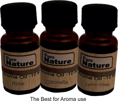 Pure Source Pack Of 10 ML 3 IN One Pack Lemon Grass , Citronella and Rose Aroma Oil Liquid Air Freshener