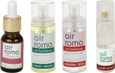 AirRoma Indian Rose, Magic Mogra, Original Rose, Sweet Sandal Home Liquid Air Freshener(350 ml)