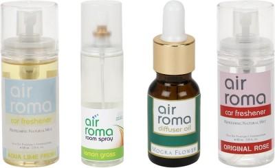 AirRoma Aqua Lime Fresh, Lemon Grass, Mogra Flower, Original Rose Home Liquid Air Freshener(350 ml)