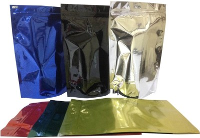 Y.E.S Resealable Plastic, Aluminium Air Tight Pouch(Black, Gold, Silver, Green, Red, Blue Pack of 6)