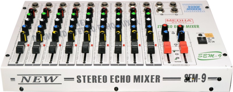 Medha Professional 9 Channel Stereo mixing console with Echo TOP QUALITY 220 W AV Control Receiver(Grey)