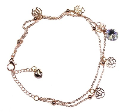 "SENECIOâ""¢ Austrian Crystal 18k Rose Gold Plated Foot Layered Chain Alloy Anklet"